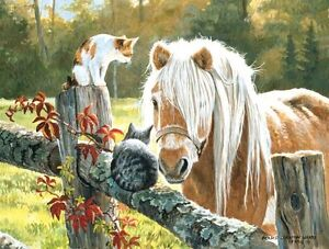 Just Visiting Cats & Horse 500 Piece Jigsaw Puzzle Persis Clayton Weirs SunsOut