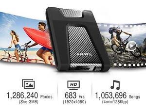 """ADATA 1TB HD650 2.5"""" External Hard Drive - USB 3.0 - Black - AHD650-1TU3-CBK"""
