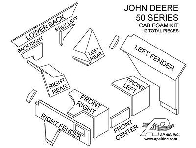 John Deere Tractor Cab Foam Kit 4050 4250 4450 4650 4850 New 12 Pieces Brown