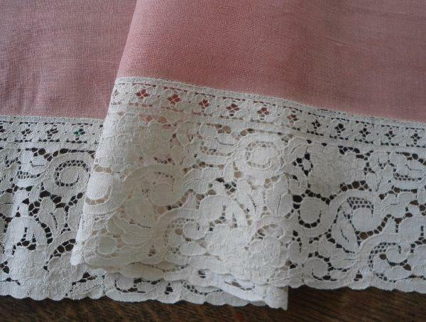 Vintage Pink Mauve Linen Table Runner Wide Ecru Embroidered Lace 42""