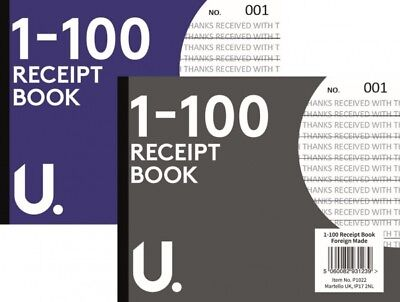DUPLICATE RECEIPT BOOK Numbered Pages 1-100 + Sheet of Carbon Paper (D3) R