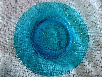 Collectible WHEATON Turquoise Blue Glass Abraham Lincoln President Plate