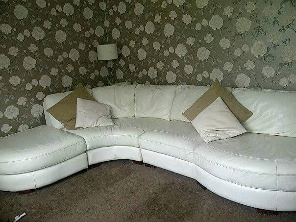 Large white leather dfs corner suite
