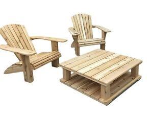 3 Piece Hand Crafted Cedar Adirondack Patio Set