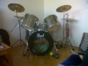 Pearl ex drum set for sale with double base kick and symbols