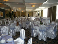 Periwinkle organza table covers