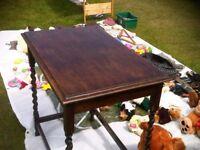 SOLID DARK OAK BARLEY TWIST LEG SIDE TABLE 76cm long x 50cm deep x 76cm high