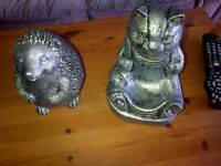 2 solid cement silver garden statues- cat and hedgehog