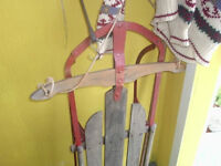 antique newfoundland  sleds wooden & metal 80.00 each