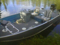 17ft aluminum side console fishing boat with 70hp merc