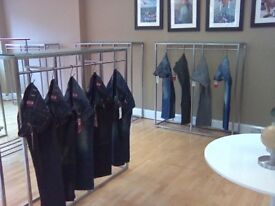 High Quality Bespoke Metal Clothing Display Rails With Reinforced Glass Tops - REDUCED! *only 5 left