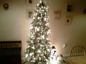 7 foot slim tree with ornaments