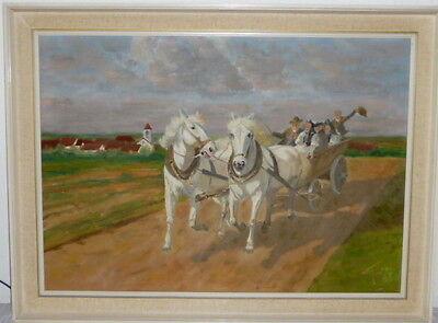 Altes Ölgemälde Gemälde Heuernte Pferde Fuhrwerk signiert Ölbild Bild Malerei