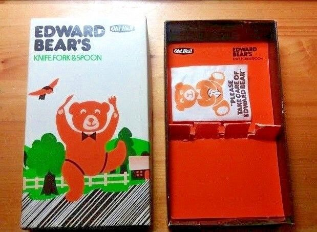Edward Bear's Knife, Fork & Spoon (by Old Hall) 1980s Classic Packaging Only