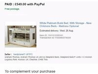 Bunk Bed with storage for kids. Very sturdy, hardly used, purchase receipt available if necessary