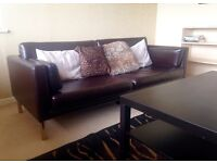 Dark brown, leather-look IKEA 3-seater sofa (FREE IKEA black coffee table if wanted)
