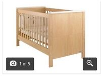 Mamas and papas cot bed with brand new luxury matress