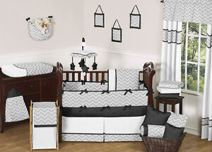 UNIQUE MODERN GRAY BLACK AND WHITE CHEVRON BABY CRIB BEDDING SET FOR BOY OR GIRL