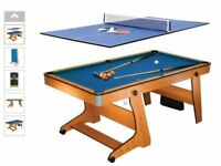 BCE 6ft vertical folding Home Pool Table (inc Table Tennis)
