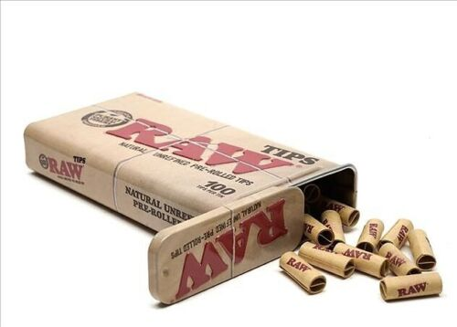 RAW 100ct Pre Rolled Tips in Tin Can NEW 100% Authentic