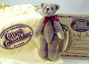 Lynda-Kuntz-Cottage-Collectibles-Miniature-Gray-Teddy-Bear-GREG-True-Friend-MWT