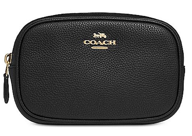 Coach Polished Black-Gold Pebble Belt Bag