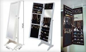Full-Length Wooden Mirror Jewellery Cabinet in White