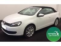 £215.20 PER MONTH WHITE 2015 VW GOLF 1.6 BLUEMOTION TECH SE DIESEL MANUAL