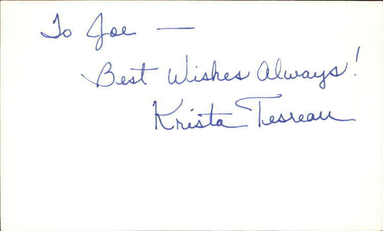 "KRISTA TESREAU GUIDING LIGHT Signed 3""x5"" Index Card"