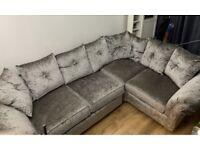 Plush silver grey diamanté or plain cushions. corner sofa