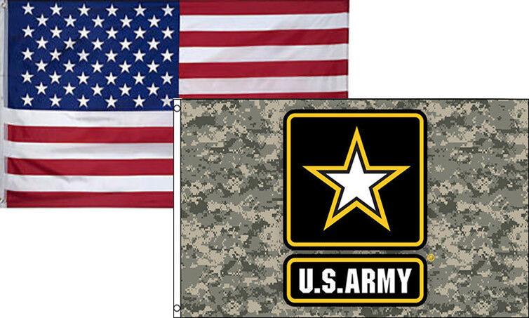 3x5 Wholesale Combo USA American & Army Star Digital Camo Fl