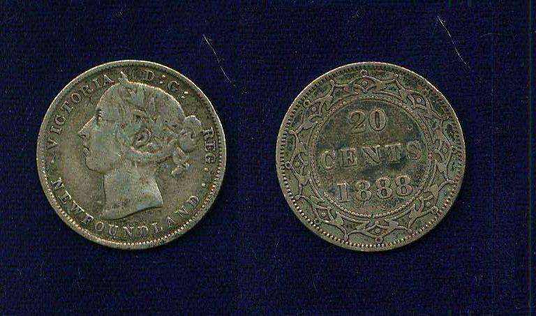 CANADA NEWFOUNDLAND VICTORIA  1888  20 CENTS COIN  VF