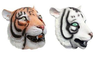 Tiger Maske Tiere Natur Gummi Latex mit Kapuze Kostüm Löwe Safari Zoo (Safari Löwen Kostüme)