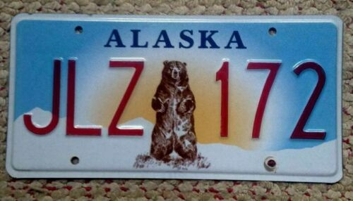 ALASKA LICENSE PLATE GRIZZLY STANDING  BEAR GRAPHIC  AUTO TAG RANDOM NUMBER # AK