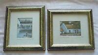 Two Signed Irish Framed Prints Fishing / Country Cottage