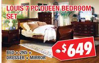 Louis Phillip 7pc Queen Bedroom Set, $649