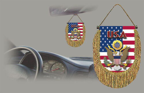 USA REAR VIEW MIRROR WORLD FLAG CAR BANNER PENNANT