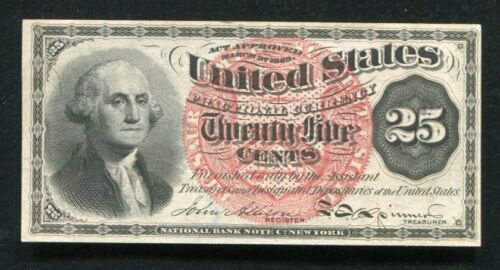 FR. 1302 25 TWENTY FIVE CENTS FOURTH ISSUE FRACTIONAL CURRENCY NOTE UNC