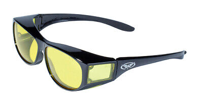 Global Vision Escort Glossyblack Yellow Lens Fit Over Most Safety Glasses Z87