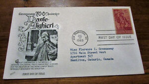 TWO 1965 Dante Aligheri 5 Cent First Day Covers Kitchener / Waterloo Kitchener Area image 1