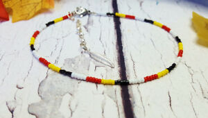 First Nations Style Glass Seed Bead Adjustable Anklet