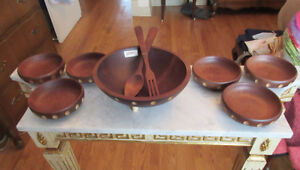 Vintage BARIBOCRAFT Teak & Maple Wood SALAD SET -Bowls & Utensil