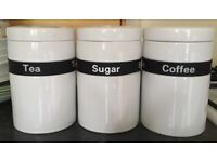 Black and white tea coffee sugar containers