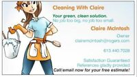 "Cleaning with Claire ""Quite simply, the best in Barrhaven!"""