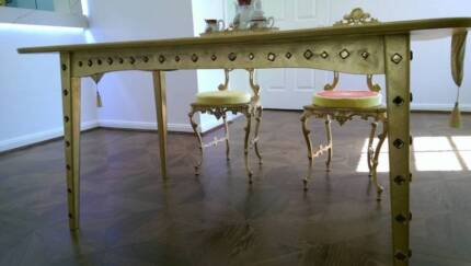 French luxury Ornate Deco gold painting crystal dining table$838
