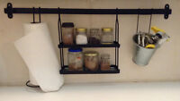 Ikea bar, spices shelfs, paper towel holder and bucket