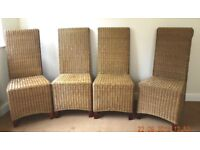 4 STURDY WICKER DINING ROOM CHAIRS