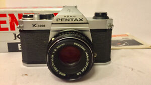 Pentax K1000 bodyw/ 50mm f2 complete in box tested