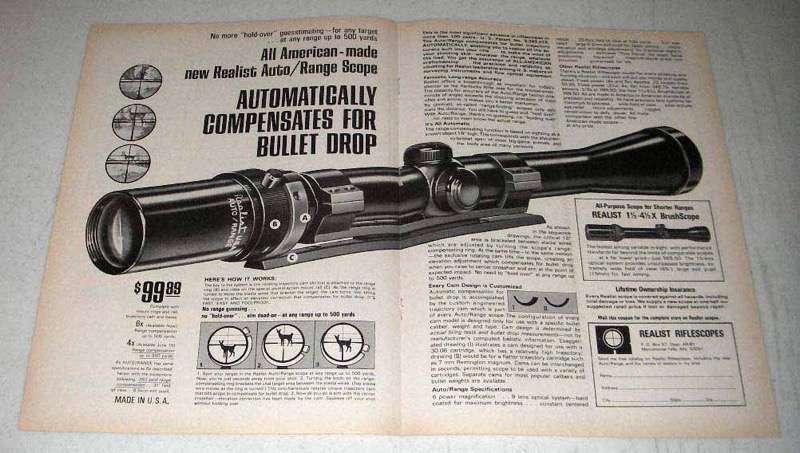 1968 Realist Auto/Range Scope Ad - Compensates