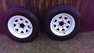 "2 x 14""sunraysia rims, 185r14c light truck tyre, caravan, trailer Shailer Park Logan Area Preview"